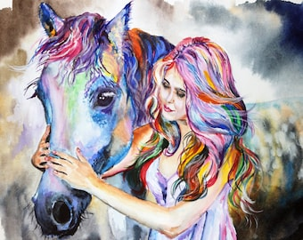 """Horse and girl Original Watercolor Painting 11.70"""" x 16.55""""in"""