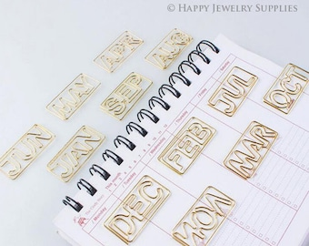 Month Metal Paper Clips, Planner Journal Paper Clasp, School Office Stationery Supply, Jan - Dec Month Paper Clip