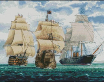 THREE SHIPS cross stitch pattern No.353