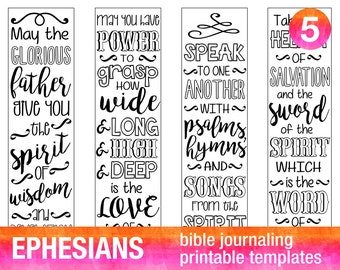 4 Bible journaling stencils printable templates illustrated christian faith bookmarks bible verse prayer journal art EPHESIANS