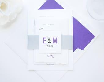Purple Wedding Invitations, Silver, Purple and Black, Modern Wedding Invitations, Wedding Invite Suite - SAMPLE SET