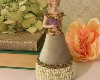 "Porcelain Pincushion Doll Figurine ~ Vanity Figurine, Boudoir Decor, Half Doll, 6.5"" Tall, Hand Painted, Porcelain Lady Figurine, Mini Doll"