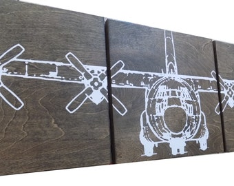 """C-130 Military Aviation Art 12""""X 60"""" Vintage Plane AIRPLANE Extra large Wall Art/ Screen Print / Wood Painting / Gift for Him / Her"""