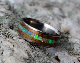 wooden ring | wood opal ring | titanium wood ring | bentwood ring | wood wedding ring | custom made | handmade | opal inlay ring | wood ring