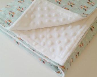 Mint Baby Blanket - Tribal Baby Blanket - Minky Baby Blanket - Arrow Blanket - Baby Shower Gift - Baby Blanket Girl - Tribal Baby Bedding