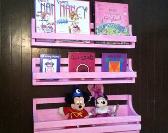 Childrens Bookshelf, set of 3, distressed pink, hanging book shelves