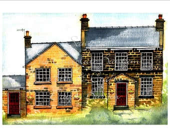 Watercolour Art Print Stannington by David Burgin Architectural Illustration Drawing Painting Sheffield Yorkshire English Houses Buildings