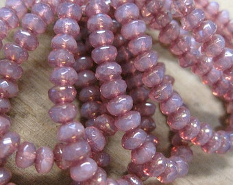 30 Pink Rose Opal Czech Pressed Glass Small Faceted Rondelles 3mm x 5mm with Gold Purple Finish 30 beads