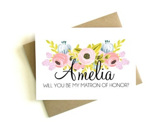 Personalized Matron of Honor Card - Will You Be My Matron of Honor, Matron of Honor Gift, Matron of Honor Proposal, Matron of Honor Card