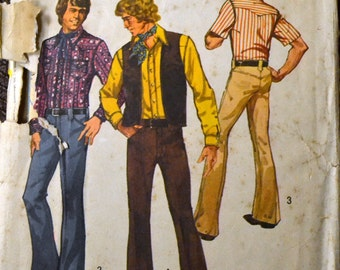 Vintage 1972 Men's Western Shirt Pants and Vest Sewing Pattern Simplicity 5048  Chest 36 inches Complete