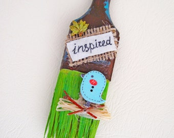 Inspired, Motivation quotes, Spring decor, Altered paint brush, unique gift, little bird, wall decor, spring door hanger, blue bird