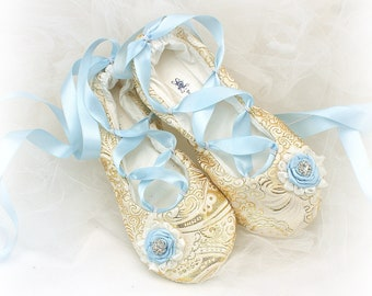 Something Blue Wedding Ballet Shoes Gold Ballet Slippers Blue Ballet Flats Blue Ballet Slippers for Brides