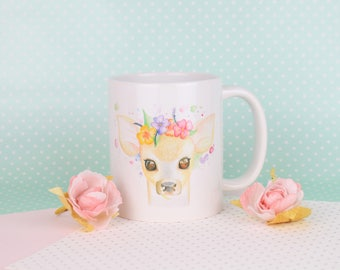 Cute Deer Mug Handmade Illustrated Gift Animal Lover Gift Vegan Gift Kitchen and Home Deer Gift Floral Crown