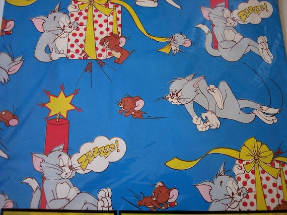 Vtg Gift Wrapping Paper Tom Jerry Happy Birthday Cartoons Unused