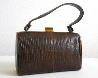 vintage Kelly hand bag, reptile,  1940's