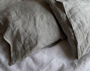 Ready to ship LINEN PILLOWCASE soft linen pillow cover gray white pillowcase linen pillow case Standard Queen pillowcase King linen bedding