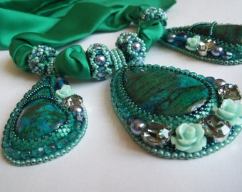 """Bright Green Blue and Turquoise Bead Embroidered Necklase on Silk Ribbon """"Caribean Story"""", Statement Necklace, Luxury Necklace, OOAK"""