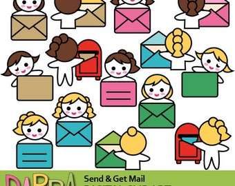 Send mail clipart, Get mail clip art / planner stickers clipart commercial use, opening envelope, post box, cute girl characters clip art