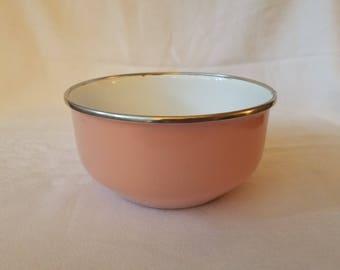 Vintage Pink Enamel Bowl