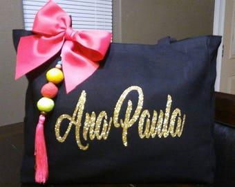Personalized Tote Bag   Canvas Bag   Personalized Canvas Tote  Handbag