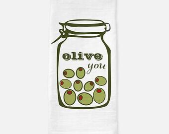 funny kitchen tea towel, flour sack tea towel, olive