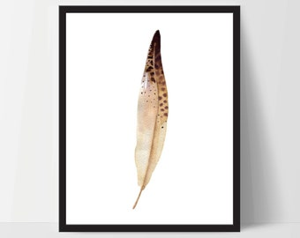 Printable Wall Art, Feather Art, Wall Print, Boho Art, Wall Prints, Feather Prints, Printable Art, Printables, Brown White Watercolor