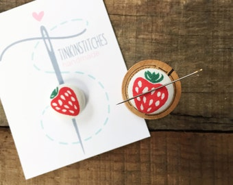 RED strawberry magnetic needleminder, embroidery, sewing notion