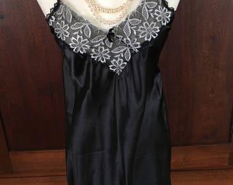S / Chemise / Slip /  Dress / Black / Small
