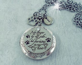 Pet memorial jewelry etsy no longer by my side but forever in my heart pet memorial locket pet loss aloadofball Images