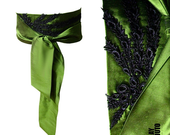 Obi sash belt silk peacock feather lime green