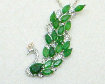 Emerald Peacock Necklace - Emerald Green Necklace - Green Peacock Necklace - Green Peacock Pendant Necklace - Silver and Green Necklace