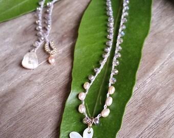 Dainty Flower Pendant Crochet Necklace, Beaded Crochet Short Necklace, Beach Boho Bride Jewelry, Simple Minimalist Layering, Plumeria Hawaii