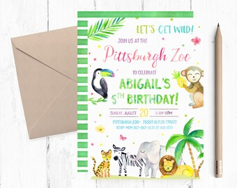 Zoo Birthday Invitation, Zoo Birthday Invites, African Animals Invitation, Zoo Birthday Party, Zoo Birthday invite, Zoo Invitations, digital