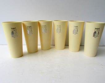Mid Century Barware - Set of 6 Plastic Owl Tumblers - Metallic Silver Owl Design - Niasco - Owl Ice Tea Tumblers -