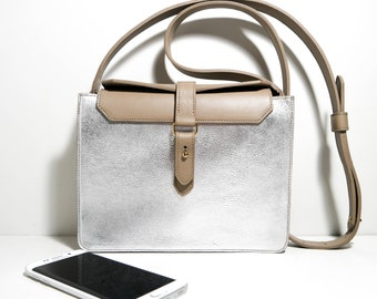 Small bag Uriell CGAr18 dove grey and silver, leather shoulder bag