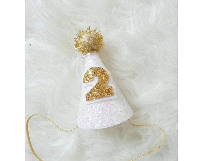 Mini Glittery Birthday Party Hat   Birthday   cake smash   2nd Birthday   Baby Birthday   White and Gold   Ready to Ship