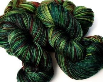 Tartan Colorway: 100 grams Handdyed Merino/Tencel/Nylon Fingering Weight Yarn, Hand Dyed Sock Yarn