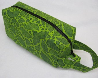 Abstract Green Leafy Bats with surprise embroidery inside - Cosmetic Bag Makeup Bag LARGE