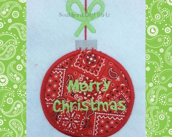 Merry Christmas Ornament Applique Embroidery Design (INSTANT DOWNLOAD)