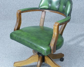 Vintage Desk Chair, Captains Chair, Leather Desk Chair, Button Back Chair, Office Chair, Leather Chair, Swivel Chair,  Delivery Available