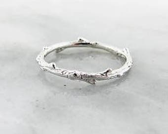 Sterling Silver Twig band. Skinny ring, stacking band, branch design ring