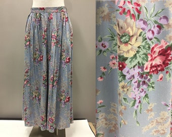 Floor Length Floral Skirt, 1980s Floral Skirt - Herman Giest Blue and Purple Floral Skirt- Vintage Maxi Skirt- Spring Outfit