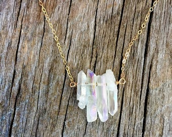 Quartz Spike and Gold Necklace