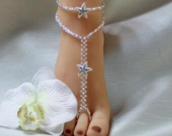 Rhinestone Barefoot Sandal Starfish Beach Jewelry Barefoot Bridesmaid Jewelry Beach Wedding Bridesmaids Gift