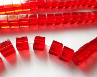 50 Red Cube Glass Beads - 26-31