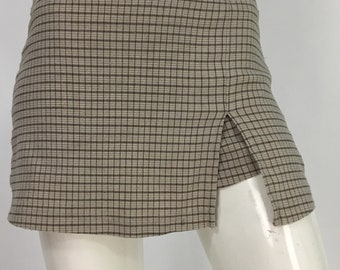 90s plaid mini skirt/90s micro mini/vintage mini skirt/built in shorts