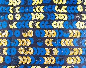 African Textile Fabric Suppliers HOLLANTEX Blue Yellow Orange Circle Line Designs htw66305