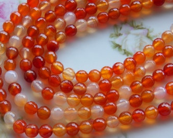 8mm Natural Carnelian (128 Facets) Faceted Round Polished Semi-Precious Beads, Half Strand (IND1C89)