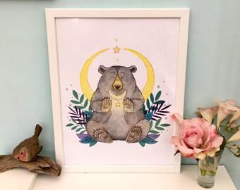 Magical moon bear art print 270gsm paper sizes A5 A4 animal watercolour magical print