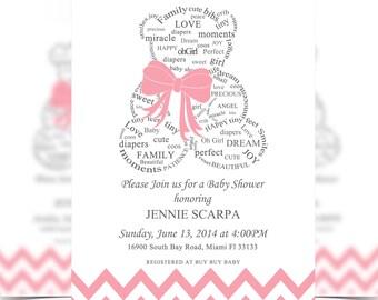 Girl, Teddy Bear Baby Shower Invitation Digital File, Baby Shower, Bear Invitation, Oh Boy - It's a Girl Baby Shower - Personalized